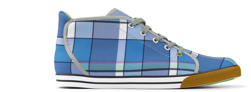 Karriert läuft es sich gut. Hier ein Schuh aus der Green Line von Hugo Boss.