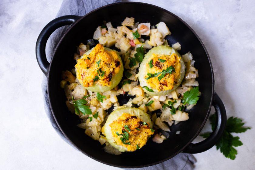 Rezept: Geschmorter Kohlrabi mit Käse-Polenta-Füllung 15
